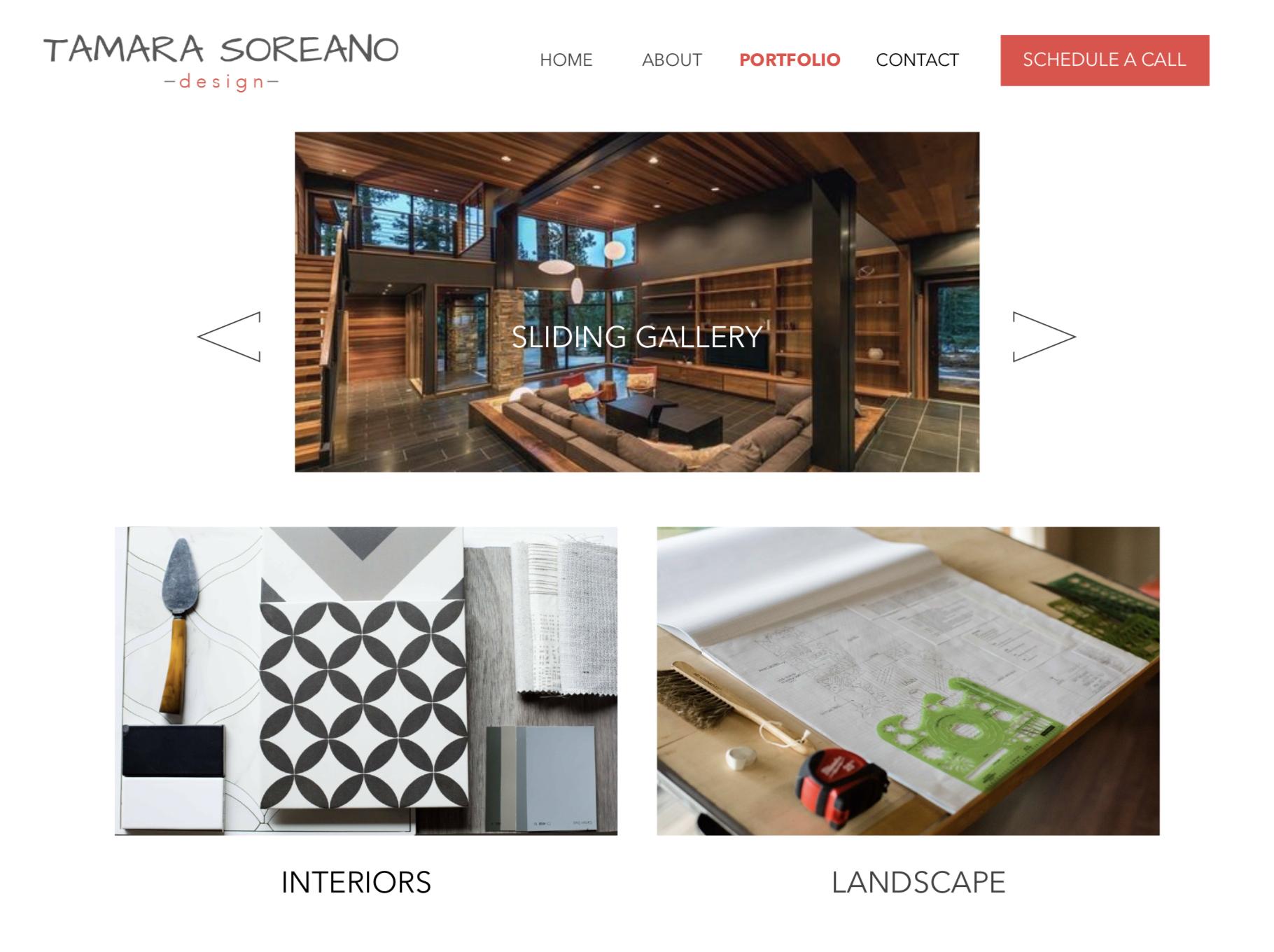 Tamara Soreano Design Portfolio Page