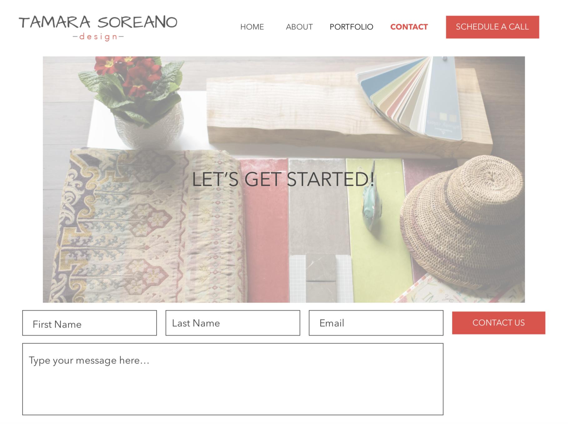 Tamara Soreano Design Contact Page