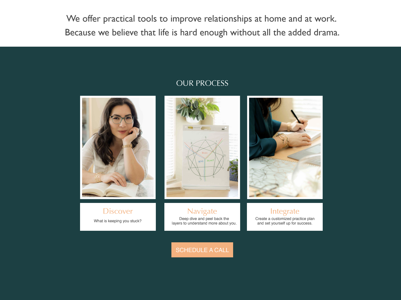 Multiple images of girl working on with the Enneagram