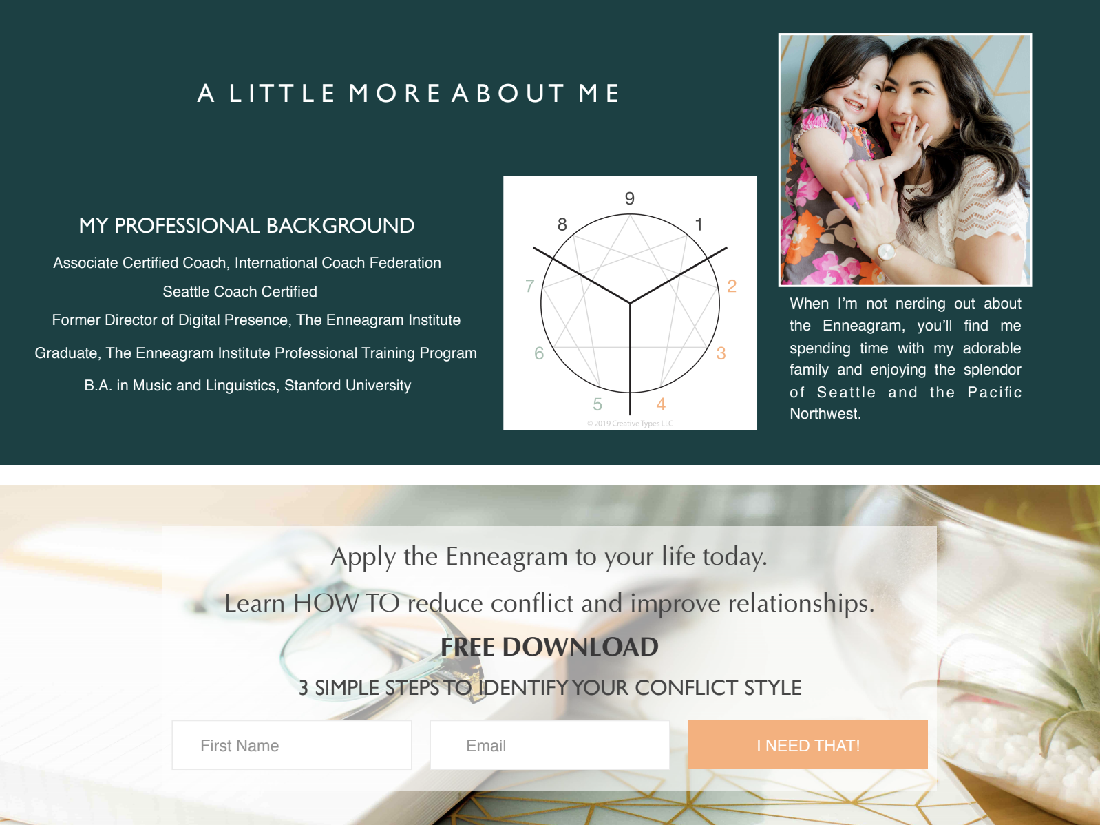The Enneagram symbol and a girl with her daughter