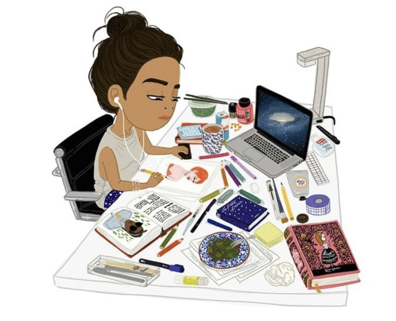 Illustrated image of brown girl sitting at her desk
