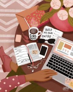 Illustration of girl working at desk
